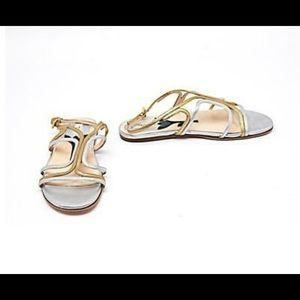 Prada sandals style 9832 size 38/8 gold and silver